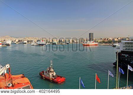 Port Of Piraeus, Athens, Attica, Greece - October 18, 2018:  Port Piraeus With Ferry Boats, Freighte
