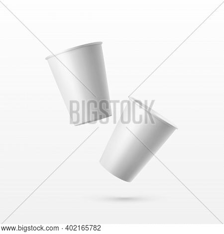 Vector 3d Realistic White Paper Glossy Disposable Cup For Beverage, Drinks Isolated On White Backgro