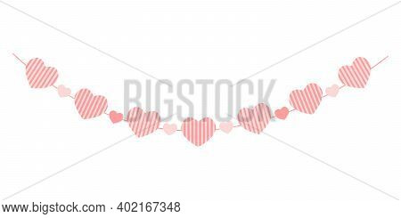 Heart Garland Isolated On White Background. Striped Hearts. Bunting For Valentine Day Party, Wedding
