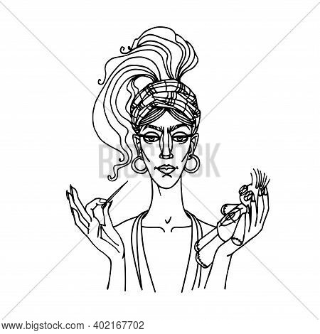 Cute Young Gypsy Woman With Pin And Voodoo Doll, Vamp-female Concept, Dangerous Love Game, Vector Il