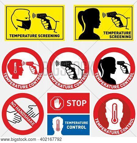 Checking Body Temperature Line Icon, Coronavirus And Covid 19, Temperature Scaning Sign, Vector Grap