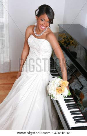 Beautiful Young Bride By Piano