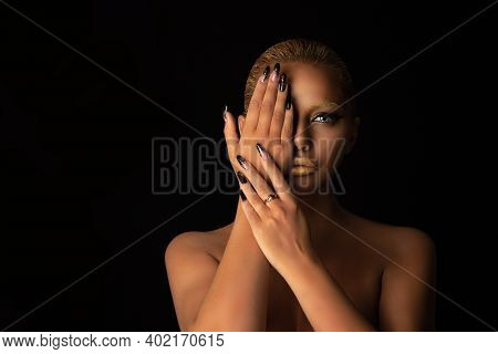Brunette Woman Fashion Model Girl Smokey Eyes Showing Golden Makeup In Set With Nails Manicure Combi