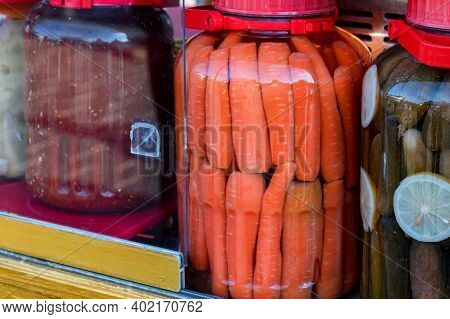 Close Up Jars With Pickled Carrot And Cucumber On Turkish Market