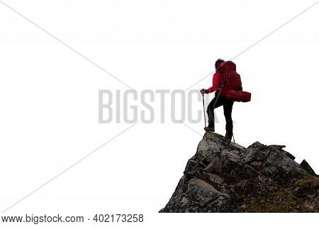 Adventurous Girl Hiker With Hands Up On Top Of A Steep Rocky Cliff. White Background Isolated Cutout