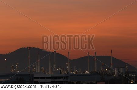 View Of The Oil Refinery At Twilight,large Oil Refinery In Thailand.