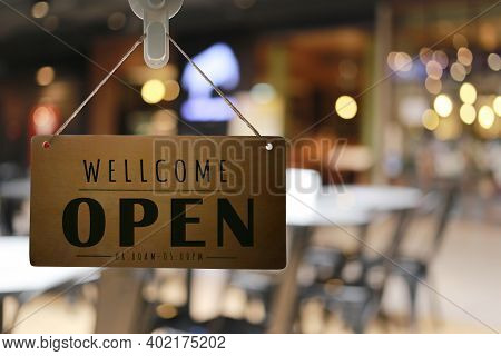 Shop Open Of Storefront Sign,restaurant Shows The Opening Status.