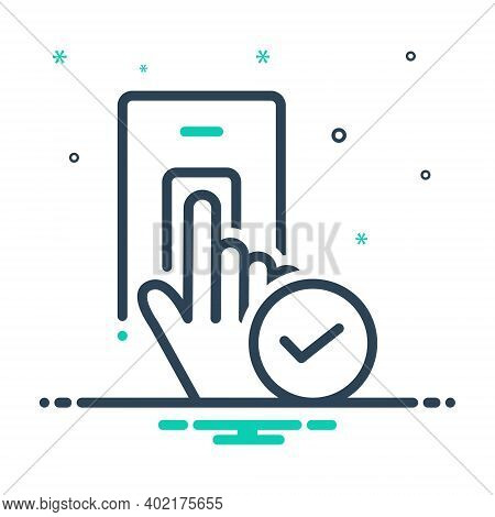 Mix Icon For Accepted Granted Recognized Permeable Biometric