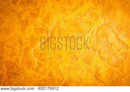 Gold Stone Texture Background. Gold Or Foil Wall Texture Backdrop Design. Walls Are Decorated With G