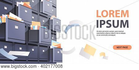 Office Wall Of Filing Cabinet With Open Card Catalog And Flying Documents Data Archive Storage Busin