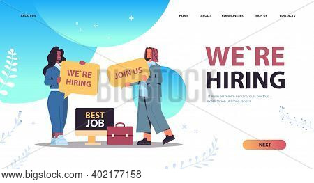 Mix Race Businesswomen Hr Managers Holding We Are Hiring Join Us Posters Hr Vacancy Open Recruitment