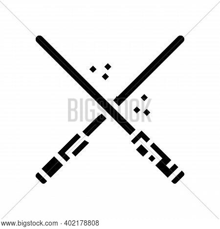 Crossed Light Swords Fight Glyph Icon Vector. Wars Geek Sign. Isolated Contour Symbol Black Illustra