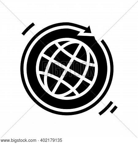 Worldwide Circular Economy Glyph Icon Vector. Worldwide Circular Economy Sign. Isolated Contour Symb