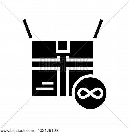 Cardboard Box Endless Use Glyph Icon Vector. Cardboard Box Endless Use Sign. Isolated Contour Symbol