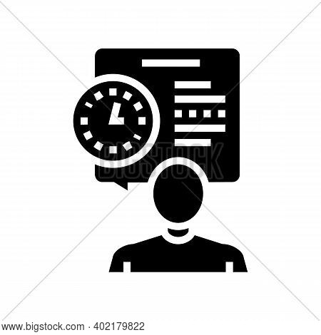 Human Talk About Task Time Scheduling Glyph Icon Vector. Human Talk About Task Time Scheduling Sign.
