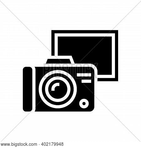 Vintage Photo Camera Glyph Icon Vector. Vintage Photo Camera Sign. Isolated Contour Symbol Black Ill