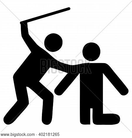 Fighting Icon. Physical Bullying. Outline Sketch Drawing.two Men Fight. Martial Art. Aggressive Beha