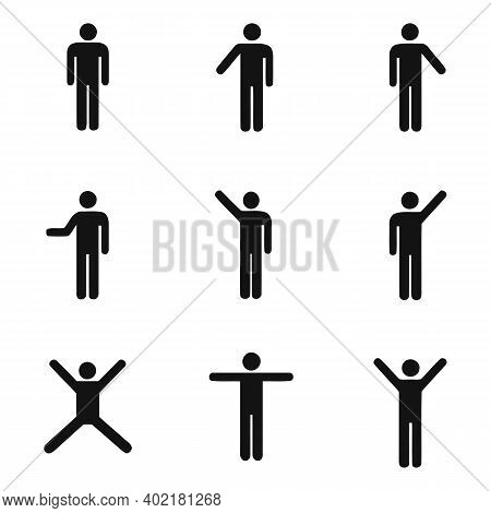 Human Figure Pose Icon Collection. Different Body Poses Set. Dancing And Jumping Person Avatar Symbo