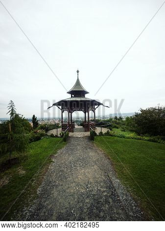 Panorama View Of Historic Chinese Pavilion On Schlossberg Castle Hill In City Center Graz Styria Aus