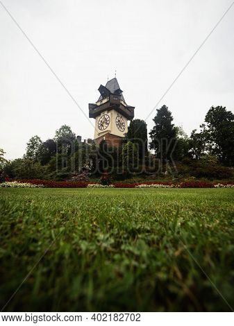 Medieval Clock Tower Uhrturm In Schlossberg Castle Hill Park Histoci Centre Of Graz Styria Austria A