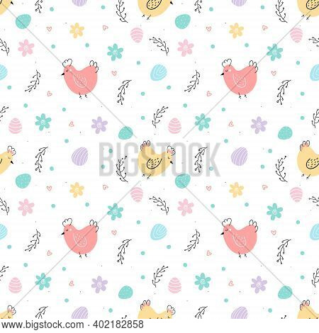 Chicken And Eggs Easter Seamless Pattern. Cute Cartoon Vector Flat Illustration. Design For Easter,