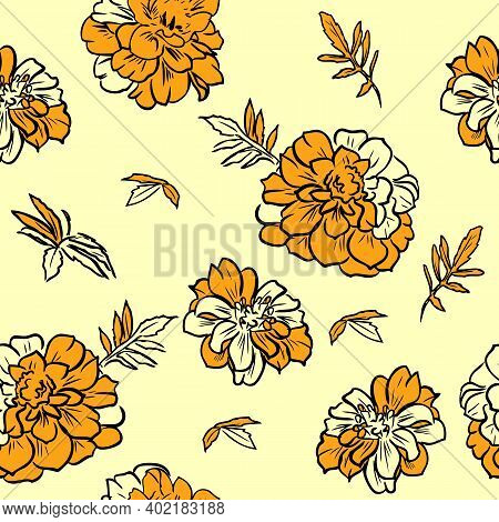 Vector Illustration Of Seamless Pattern With Marigold.