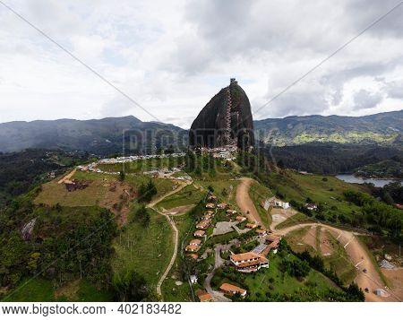 Aerial Panorama Of Piedra Del Penol El Penon De Guatape Rock Stone Inselberg Monolith Granite Dome I