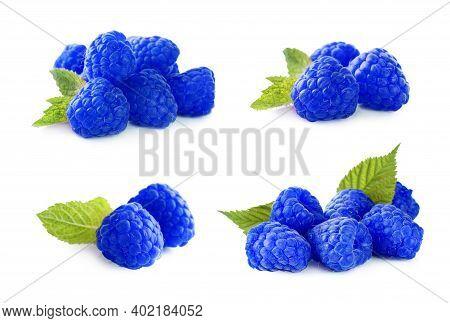 Set Of Fresh Blue Raspberries On White Background