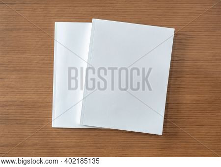 Book Mockup With Blank White Front Cover Page A4 Paperback Mock Up For Catalog, Magazine, Menu, Book