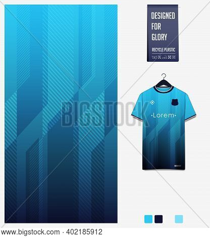 Fabric Pattern Design. Geometric Pattern On Blue Gradient Background For Soccer Jersey, Football Kit