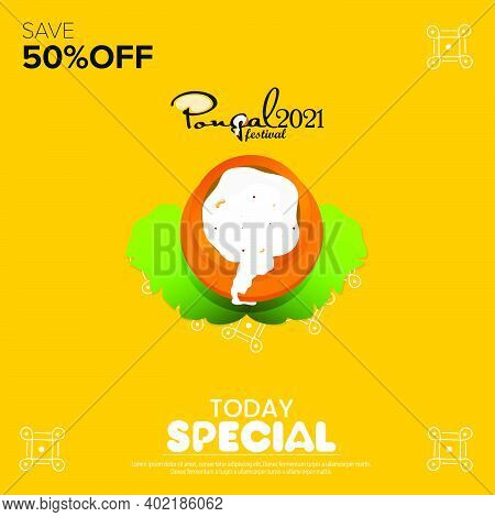 Pongal Festival Best Deal Offer Banner Design With 50% Discount Offer, Social Media Post Template
