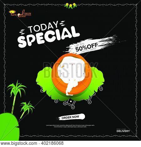 Pongal Festival Sale Template Design With 50% Discount Offers, Social Media Post Templates