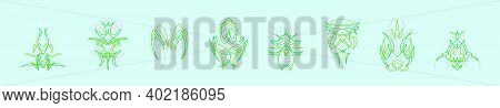 Set Of Green Ornamental Pinstripes Cartoon Icon Design Template With Various Models. Modern Vector I