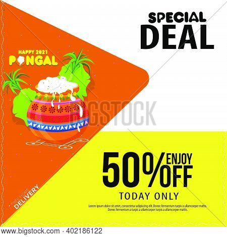 Pongal Festival Sale Template Design With 50% Discount Offers, Social Media Post Template