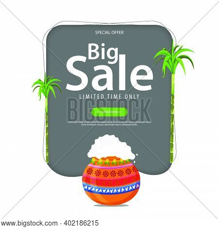 Illustration Of Happy Pongal Sale Background. Can Be Used For Shopping Sale, Promo Poster, Banner