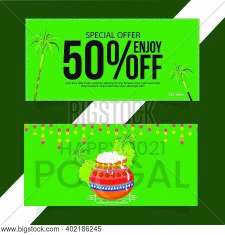 Pongal Festival Offer Banner Design, Social Media Post Templates,