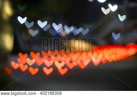 Orange Bokeh And Blur Heart Shape Love Valentine Colorful Night Light