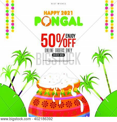 Pongal Festival Offer Banner Design With 50% Discount Offers