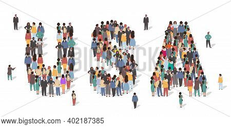 Usa Flag Made Of Many People, Large Crowd Shape. Group Of People Stay In Us Map Formation. United St