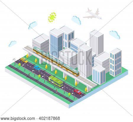 Isometric City With Public Transport, Flat Vector Illustration. Taxi Car, Bus, Rapid Transit Metro T