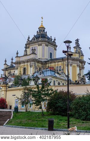 Lviv, Ukraine - October 24, 2020: Cathedral Of St. George In The Baroque-rococo Style, Located In Th
