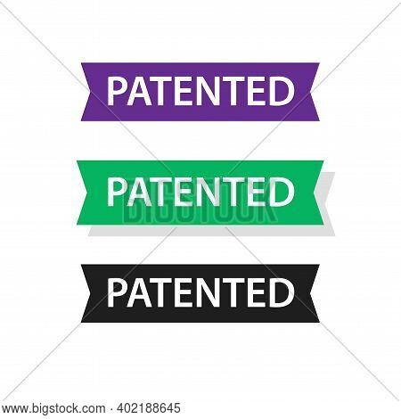 Patented Badge Label Ribbon Vector Set, Patent Tag Sticker Isolated Icon