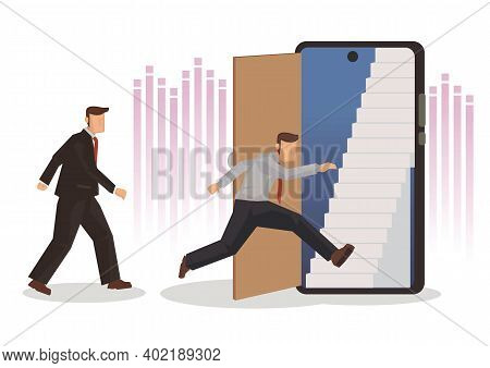 Mobile Phone As A Door To Opportunity. Business Person Walking Through The Display Of A Smartphone.