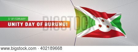 Unity Day Of Burundi Greeting Card, Banner Vector Illustration