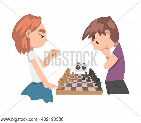 Cute Boy And Girl Playing Chess Game Together, Kids Chess Club, Tournament, Leisure Activity, Logic
