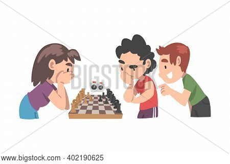 Cute Children Playing Chess Game Together, Kids Chess Club, Tournament, Leisure Activity, Logic Game