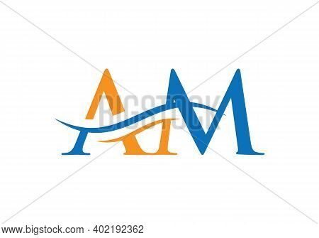 Initial Am Letter Linked Logo Vector Template. Swoosh Letter Am Logo Design. A M Logo Design With Mo