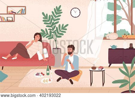Couple Enjoy Romantic Date At Home Vector Flat Illustration. Man And Woman Having Dinner With Champa