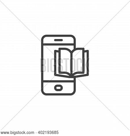 Phone Book Line Icon. Linear Style Sign For Mobile Concept And Web Design. Mobile Ebook Outline Vect