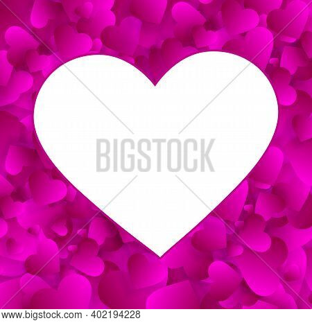 Heart Photo Frame Vector Empty Border, Love Background With Pink Hearts Confetti Or Petals. Photofra